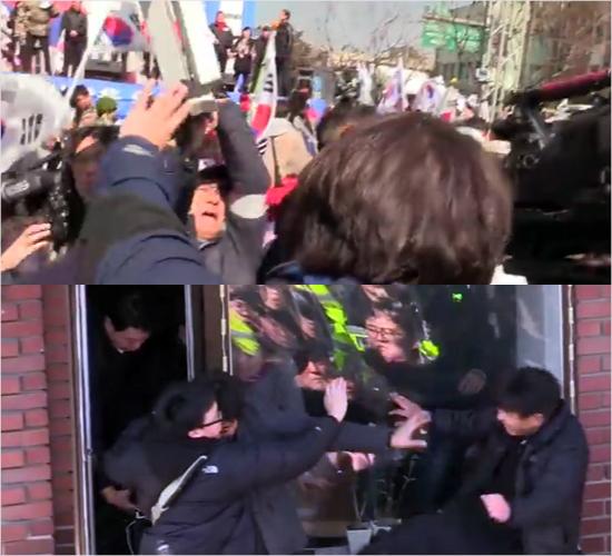 철제 사다리로 기자 내려친 친박회원에 '구속영장'