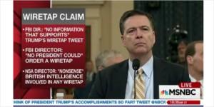 미 하원 정보위원회 청문회에 출석한 제임스 코미 FBI 국장 (사진=MSNBC 생중계 화면 캡쳐)