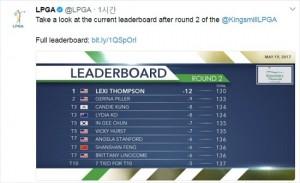 여자골프 세계랭킹 1위 리디아 고가 미국여자프로골프(LPGA)투어 킹스밀 챔피언십을 통해 최근 부진에서 깨어난 가운데 렉시 톰슨(미국)이 우승 경쟁에서 가장 앞서나갔다.(사진=LPGA 공식 트위터 갈무리)