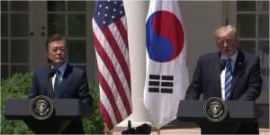 문재인 대통령과 도널드 트럼프 미국 대통령은 30일(현지시간) 정상회담을 마친 뒤 공동언론발표를 진행했다. (사진=NBC 영상 캡쳐)