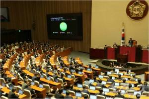국회 본회의 자유한국당 의원들이 불참한 가운데 북한 제6차 핵실험 규탄 결의안이 4일 채택됐다. (사진=윤창원 기자)