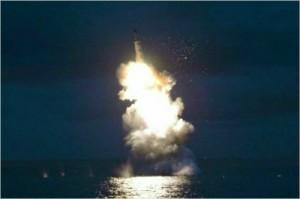 북한의 SLBM 발사 모습 (사진=노동신문)