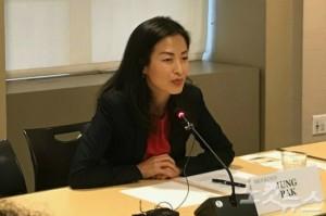 미국 브루킹스(Brookings) 연구소 정 박(Jung Pak) SK-KF 한국석좌는 12일(현지시간) 워싱턴 특파원들과의 간담회에서 질문에 답하고 있다. (사진=워싱턴 장규석 특파원)
