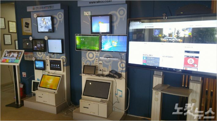 (주)코리아정보통신이 생산하고 있는 디스플레이 장비들 (사진 = 강동수 기자)