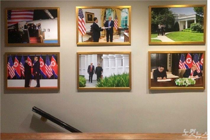 김정은 사진 백악관에 걸려, 마크롱 사진 있던 자리