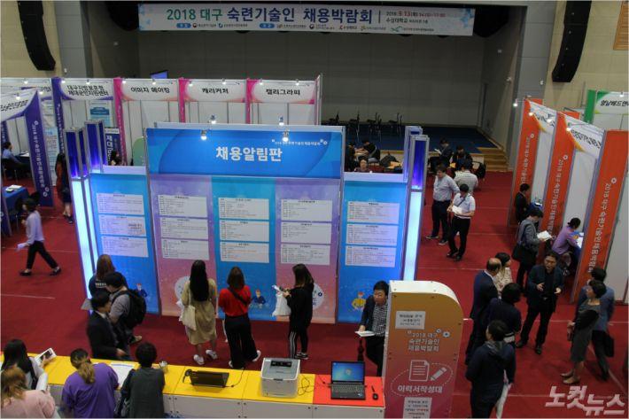 2018 대구 숙련 기술인 채용박람회가 13일 수성대에서 개최됐다