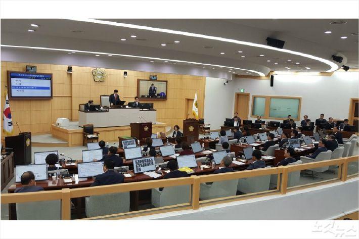 제187회 정례회가 열린 여수시의회 본회의장(사진=고영호 기자)