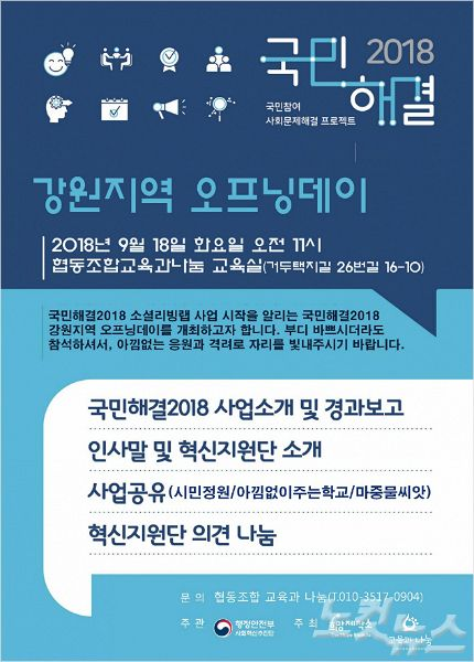18일(화),국민해결2018 강원지역 오프닝데이가 개최된다.(사진=이민아 이사 제공)