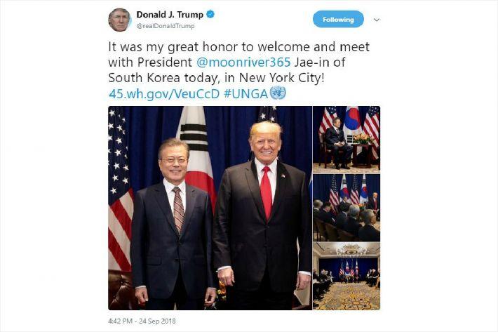 트럼프. 한미정상회담 직후 트위터에 기념사진