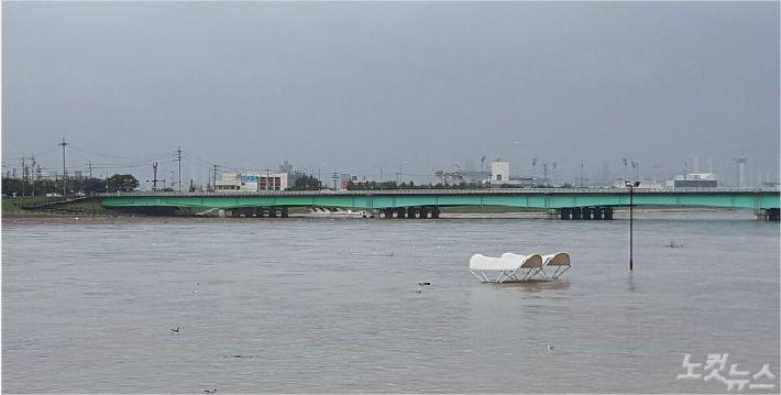 물에 잠긴 포항 형산강 모습(사진=독자제공)