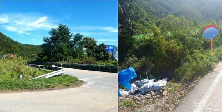 25호 태풍 콩레이의 영향으로 도로반사경이 맥없이 쓰러지고 가드레일 일부가 무너졌다. (사진=유선희 기자)