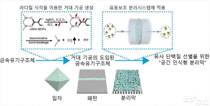 금속-유기 구조체(입자, 패턴, 분리막)에서의 거대기공 형성 및 유사 단백질 분리