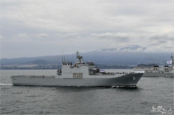 9일 제주 남방해역에서 해상사열 리허설이 진행됐다.(해군 제공)