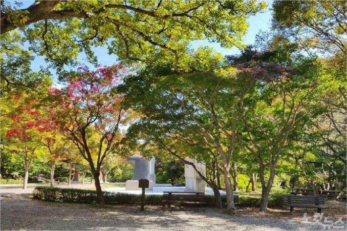 계룡산 동학사 자연관찰로 표지판 근처(사진=대전지방기상청 제공)
