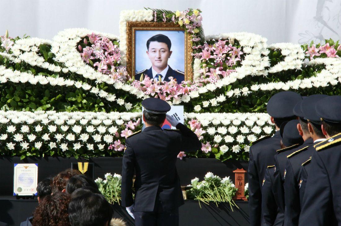 '아내와 세 아들 남겨두고' 교통사고 수습하다 순직 경찰관 영결식