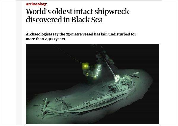 흑해서 2400년 전 추정 온전한 형태 난파선 발견