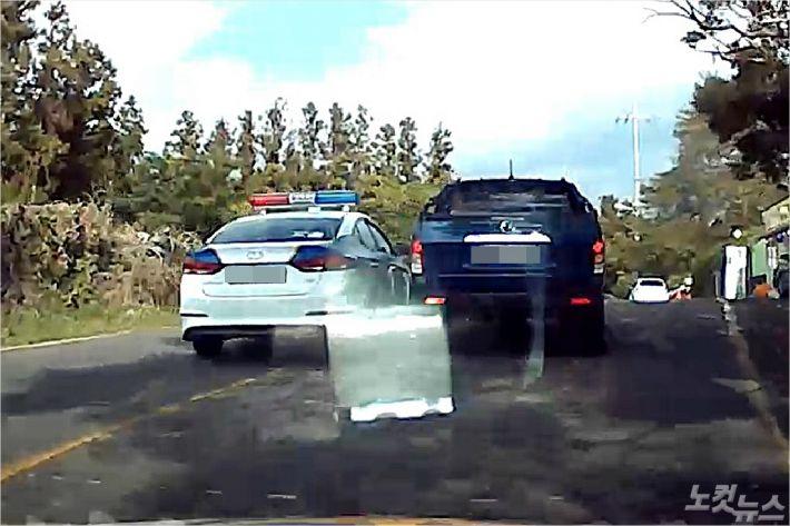 경찰 추적 블랙박스 영상 캡처 화면. (사진=서귀포경찰서 제공)