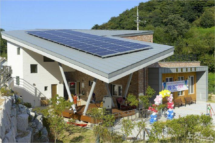 순천시 에너지자립마을 태양열 에너지를 이용한 경로당 모습(사진=순천시)