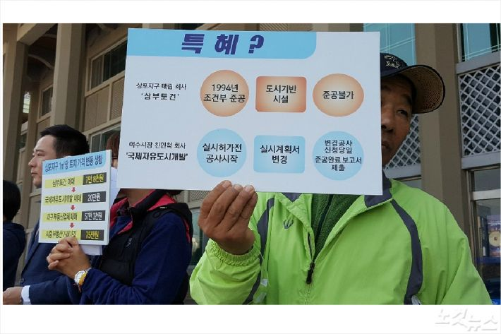 상포 특혜 의혹을 정리한 피켓을 기자회견에서 들고 있다(사진=고영호 기자)