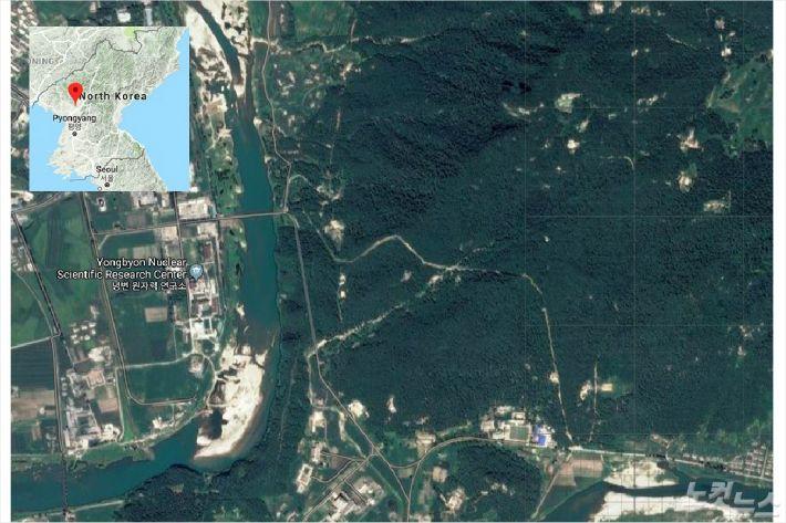 북한 영변 지역의 인공위성 이미지