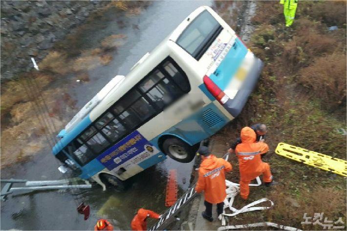8일 오후 달리던 시내버스가 다리 밑으로 추락했다. (사진=충남지방경찰청 제공)