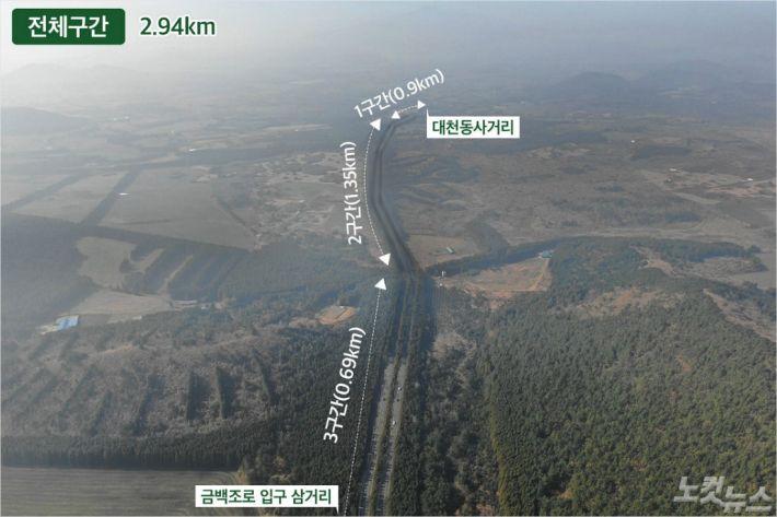 제주 비자림로 확장 공사 구간(제주 대천동 사거리~금백조로 입구 2.94km)을 설계 변경해 가상으로 만든 조감도.