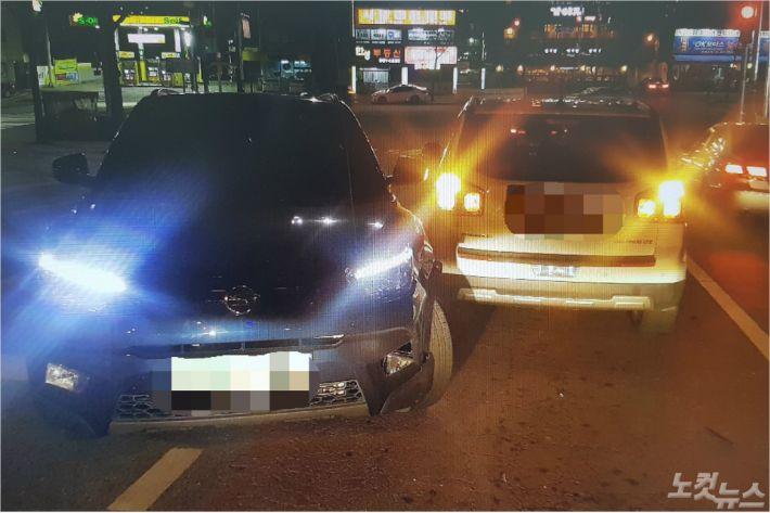 부산의 한 도로에서 만취 상태로 차를 몰던 40대 운전자가 중앙선을 넘어 추돌사고를 냈다가 경찰에 붙잡혔다. (사진=부산경찰청 제공)