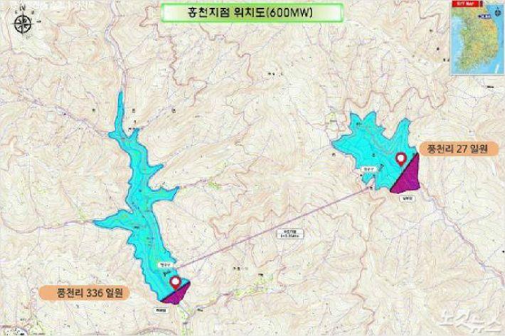 홍천양수발전소 계획도(자료=홍천군청 제공)