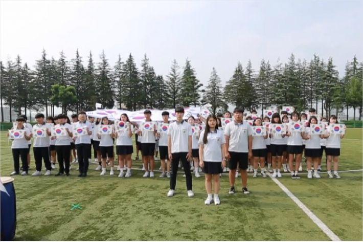전북 완주군 삼우중학교 전교생 212명는 일본군 '위안부' 피해자 캠페인을 제작한 영상 갈무리. (사진=삼우중)
