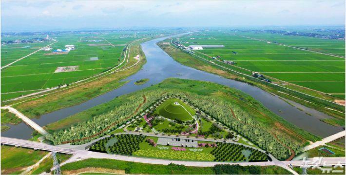 전북 정읍시 만석보 쉼터의 조감도, 동진강변에 파크 골프장이 들어설 계획이다. (사진 = 자료사진)