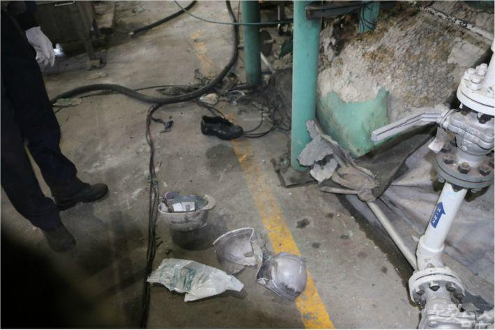 지난 6일 폭발사고로 3명의 사상자가 발생한 군산의 한 화학공장 내부 모습. (사진= 군산소방서)