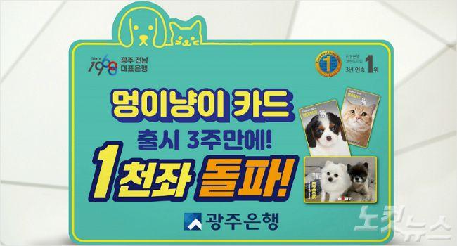 광주은행 '멍이냥이카드', 펫팸족 호응으로 1천 좌 '돌파' (사진=광주은행 제공)