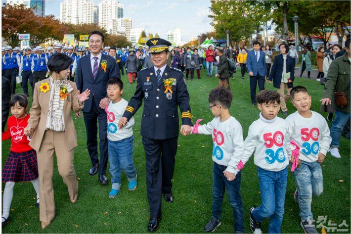 지난해 11월 11일 부산 안전속도 5030 선포식 모습. (사진=부산 경찰청 제공)