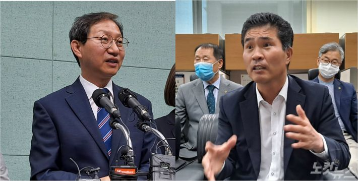 더불어민주당 도당위원장에 출마한 김성주 의원(왼쪽), 이원택 의원(오른쪽) (사진=김용완 기자)