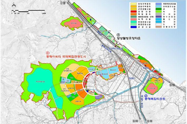 동해안권경제자유구역 토지이용 계획도 및 단위사업지구별 개발계획. (사진=동해안권경제자유구역청 제공)