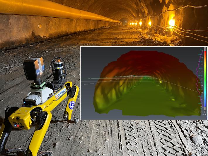 포스코건설이 최근 국내 최초로 '포천~화도 고속도로 4공구' 터널공사에 고성능 측정장비를 탑재한 자율보행 로봇을 적용해 시공 안전 · 품질 관리에 나서고 있다. 포스코건설 제공