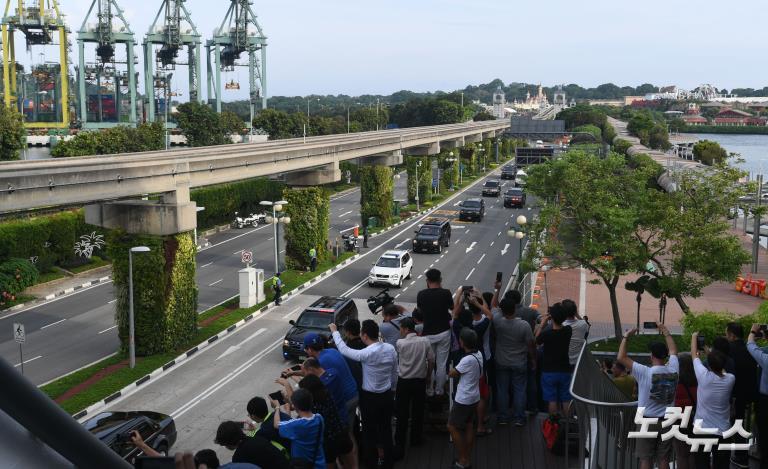 '북미정상회담 종료' 센토사섬 떠나는 북미 정상