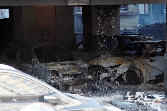 의정부 아파트 화재, 전소된 주차장