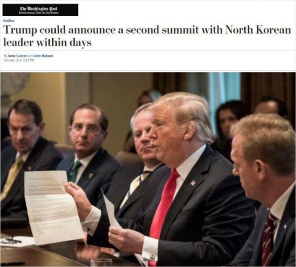 "WP ""트럼프, 곧 북미 정상회담 발표할 듯"""