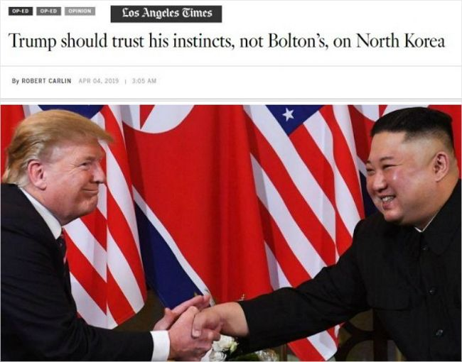 """LA 타임스 트럼프에 권유 """"볼튼 멀리하고 직관 믿어라"""""""