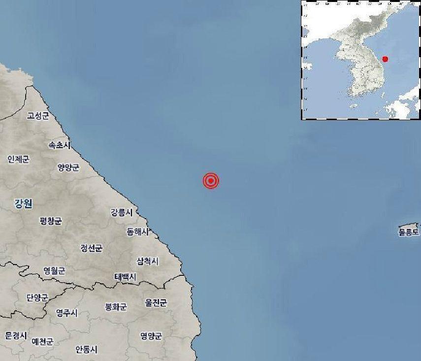 """동해시 북동쪽 해역서 4.3 지진…""""진동 느끼나 피해는 없을 것"""""""