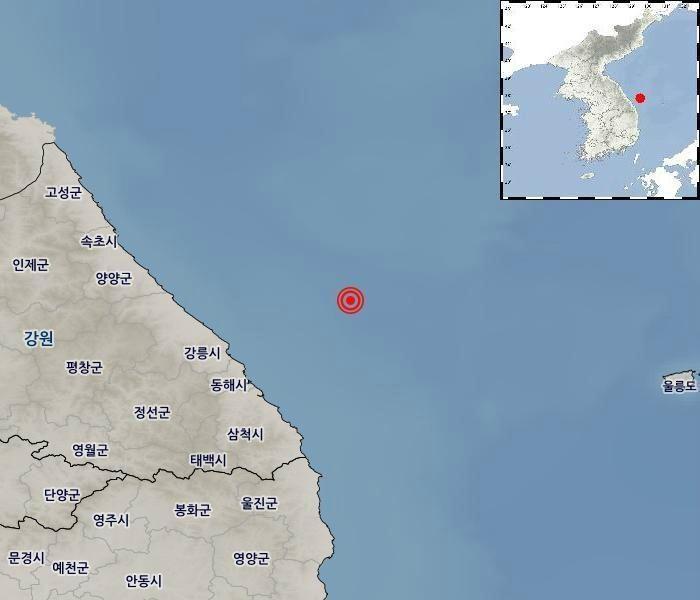 """동해시 북동쪽 해역서 4.3 지진…""""진동 느끼나 피해는 없을 것"""" (2보)"""