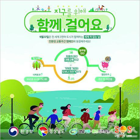 """""""지구를 위해 함께 걸어요""""…경남도 친환경 교통주간 운영"""