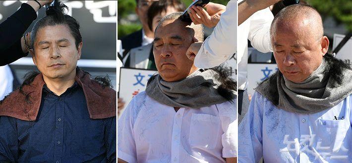 '反조국' 이슈, 황교안 삭발 먹혔나…한국당 삭발 릴레이