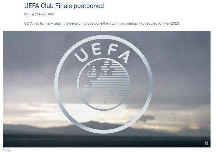 유럽축구연맹, 코로나19로 UCL·UEL 결승전 '무기한 연기'