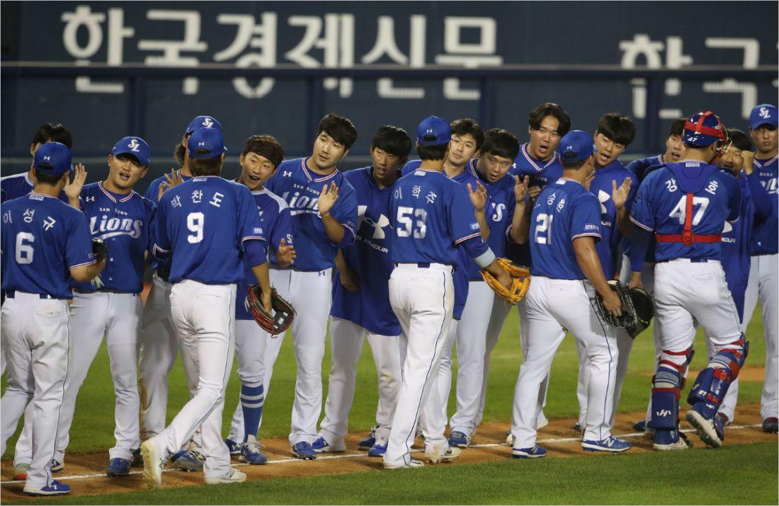삼성, 연장 12회서 끝내기 밀어내기로 5연승 5위 점프