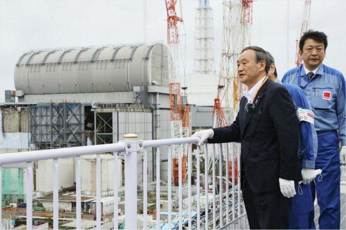 """日 스가, 후쿠시마 원전 오염수 처리방침 """"최대한 빨리 결정"""""""