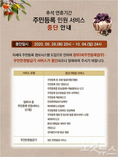 경남도, 추석 연휴 주민등록 관련 민원서비스 중단