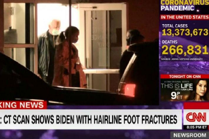 """바이든 다리 부상에 트럼프 """"빠른 건강회복 기원"""""""