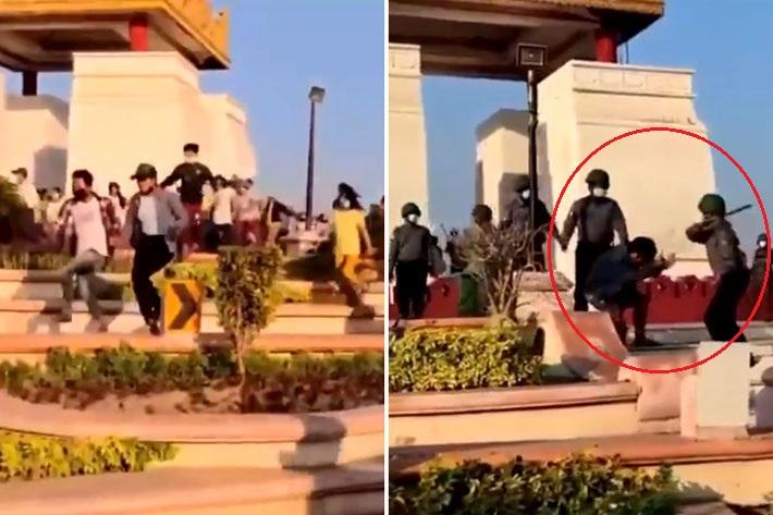 [영상]무차별 폭행…군인에 무릎꿇은 미얀마 시민들